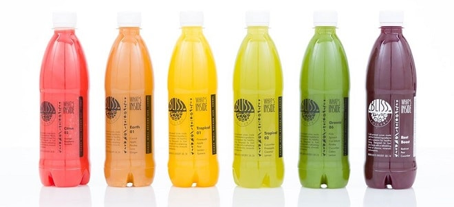 bliss juicery selection of natural cold pressed juices