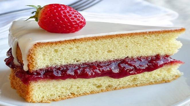 A Decadent Strawberry Vanilla Sponge Cake