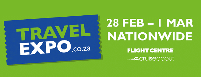 travel expo banner in green and blue
