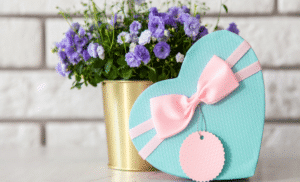 gift box and flowers