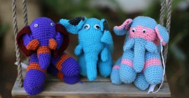 Rare Bear Project croquetted animals in blue, pink and red