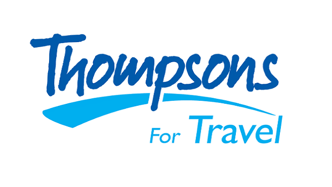 Thompsons logo in navy and light blue