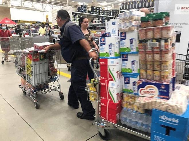 man pulling trolley