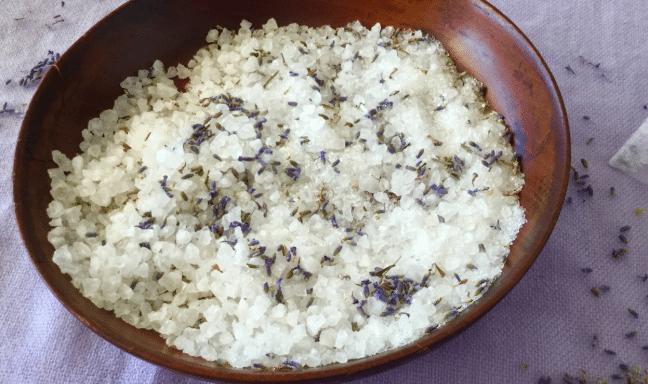 bath salts in a wooden bowl