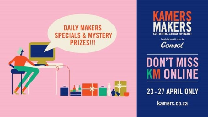 kamers makers market goes online banner with pink and navy blue accents