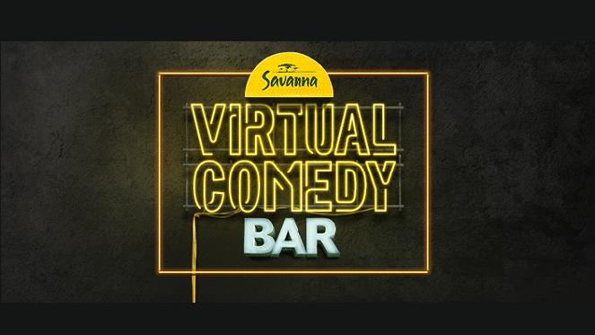 savanna virtual comedy bar logo on black background