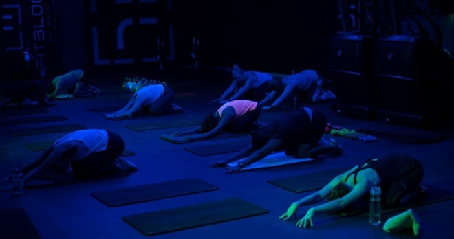 FitBlock classes with UV lights and music