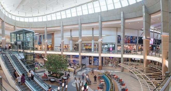 greenstone shopping centre interior of the mall shops escalators