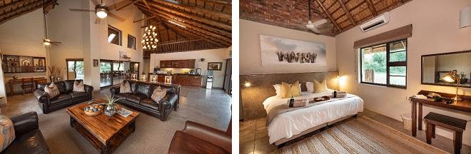 senalala safari lodge common room and bed room