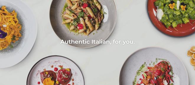 cafe del sol deli via plates with italian cuisine on them