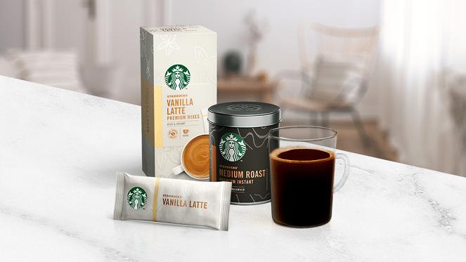 starbucks coffee new range on white marble table